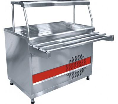 Прилавок холодильный ПВВ(Н)-70 КМ-НШ весь из нержавеющей стали, плоский стол