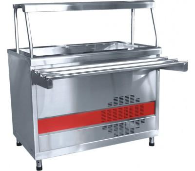 Прилавок холодильный ПВВ(Н)-70 КМ-02-НШ весь из нержавеющей стали (открытый с ванной)